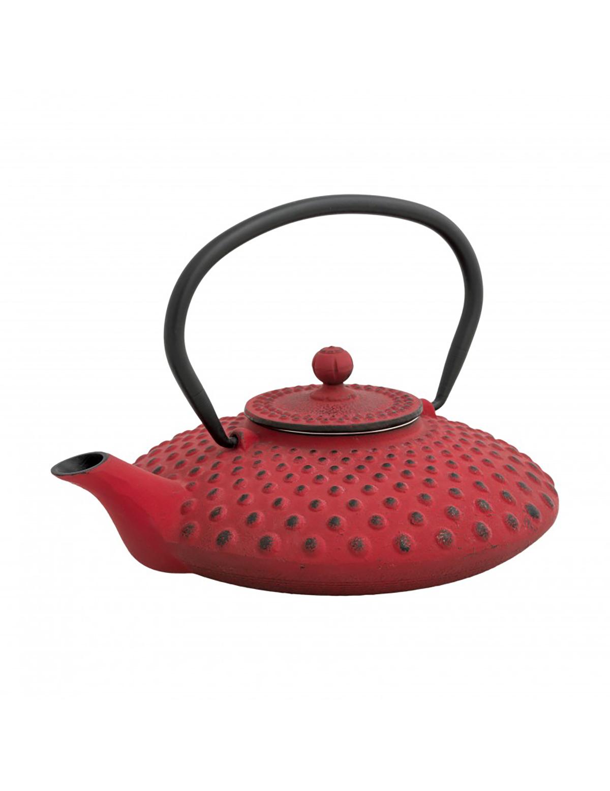 teiera Fragola in ghisa rossa con filtro