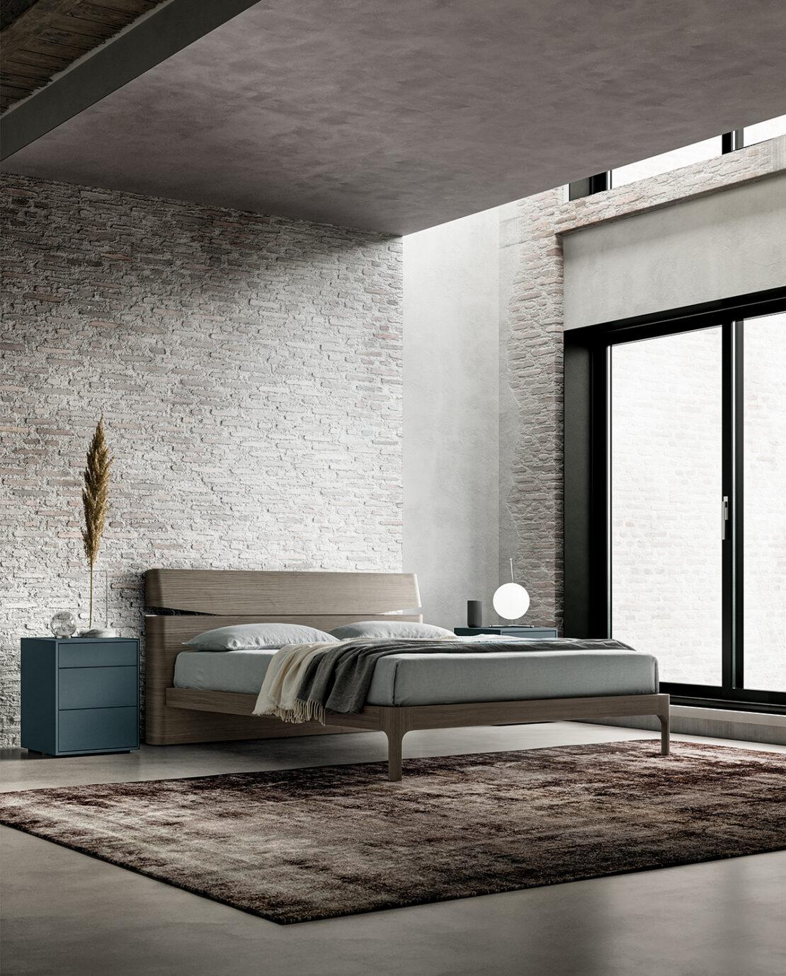 comodini e letto stile minimal